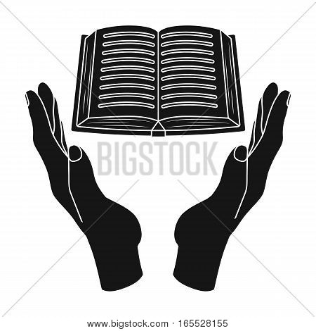 Book donation icon in black design isolated on white background. Charity and donation symbol stock vector illustration.