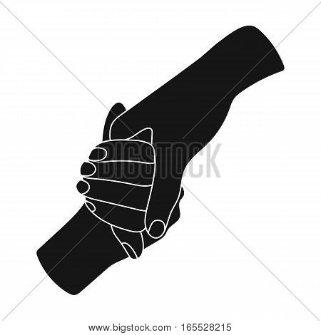 Hands holding icon in black design isolated on white background. Charity and donation symbol stock vector illustration.