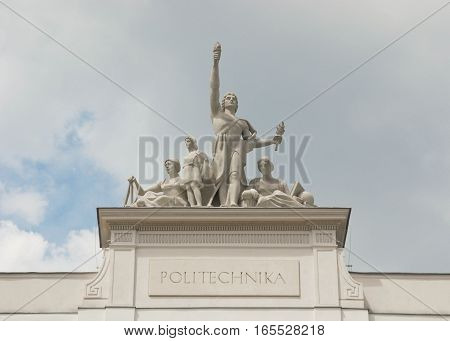 Sculpture on the roof of the Warsaw University of Technology.