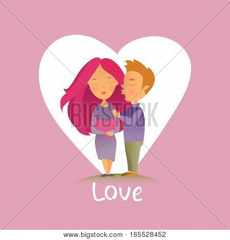 Vector illustration. Greeting card with Valentine's day holiday. Postcard with the image of enamored pair. Cartoon characters.