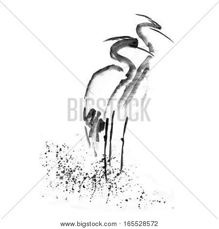 Beautiful gallant stork Heron crane love. Ancient monochrome black ink hand drawn backdrop sketchy in art retro engraving style.