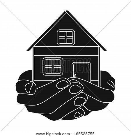 Property donation icon in black design isolated on white background. Charity and donation symbol stock vector illustration.