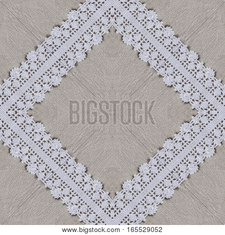 White organic cotton crochet lace background, backdrop for scrapbook, Christmas, yuletide, top view. Collage with mirror reflection. Seamless kaleidoscope montage for cushion, pillow, tablecloth cloth