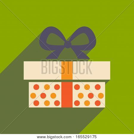 flat icon with long shadow gift box
