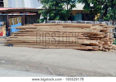 Mound of planed planks waiting to be removed on Mombassa road in Nairobi