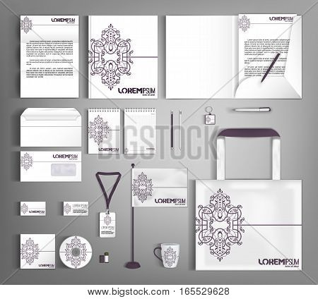 Vintage corporate identity template design. Business stationery set.
