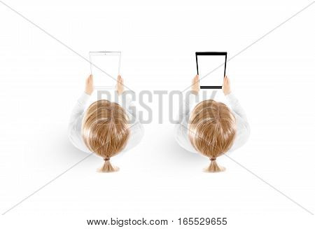 Woman hold tablet pc mockup in hand top view isolated, black and white set. Mobile ebook mock up holding in female hands from above. Blank tablet screen monitor. Clear vertical display pad booklet.