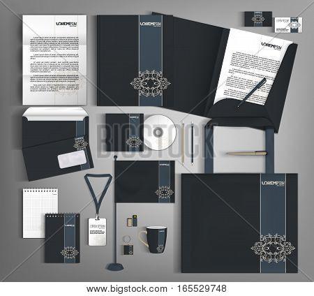 Vintage corporate identity template design. Business stationery set.