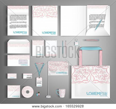 Corporate identity template design with floral pattern. Business set stationery.