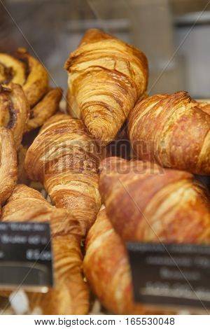 Fresh Baked Croissant On Sale In Food Store