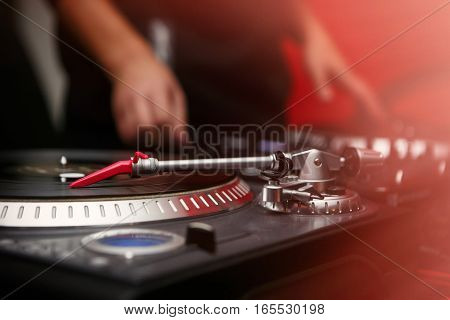 Hip Hop Dj Scratch Vinyl Records On Turntable Player