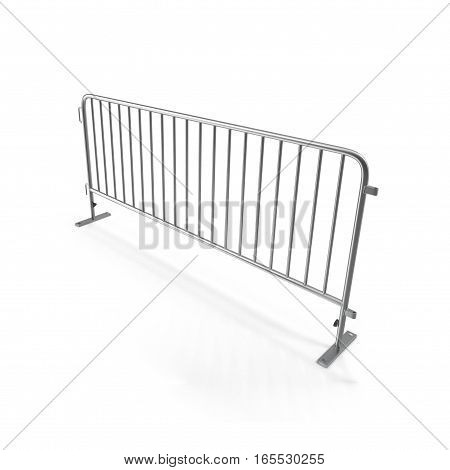 Steel temporary fence on white background. 3D illustration
