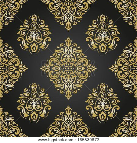 Seamless oriental pattern in the style of baroque. Traditional classic ornament. Black and golden pattern