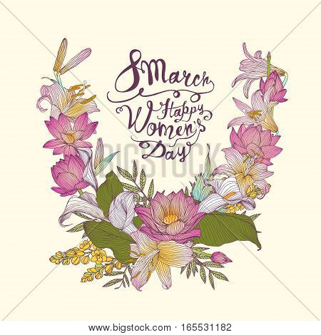 8 March. Happy Woman's Day! Vector Card With Flowers