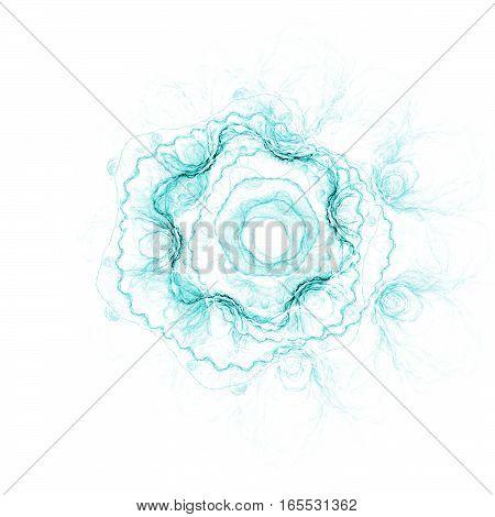 Abstract Stylized Rose Flower On White Background. Fantasy Fractal Design In Light Blue Colors. Digi