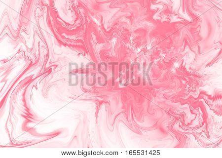 Abstract Fantasy Marble Texture. Romantic Fractal Background In Pink And White Colors. Digital Art.