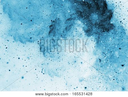 Abstract Blue Sparkles And Swirls On White Background. Fractal Art. 3D Rendering.