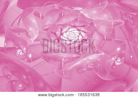 Abstract Crystal Rose Flower With Glowing Sparkles. Fantasy Fractal Design In Pink Colors. Psychedel