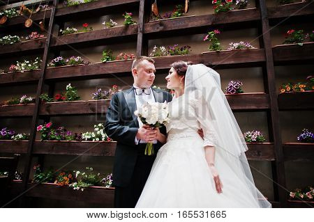 Beautiful Wedding Couple Stay Background Wall With Flowers On Pots.