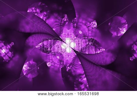 Abstract Exotic Crystal Flower. Fantasy Fractal Design In Purple And Black Colors. Digital Art. 3D R
