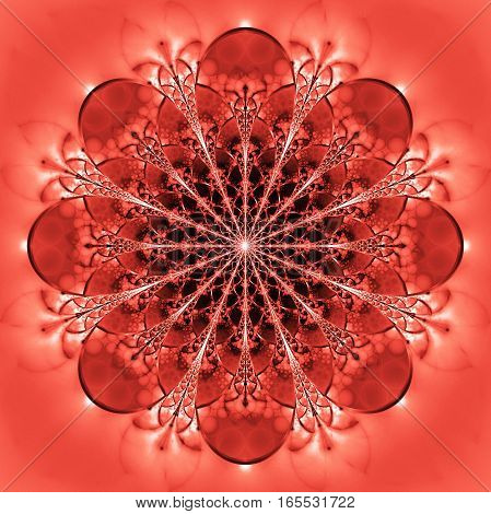 Abstract Exotic Red Flower. Psychedelic Mandala Design In Bright Orange And White Colors. Fantasy Fr