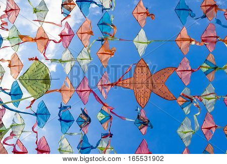 colorful Thai kite with clear sky for background