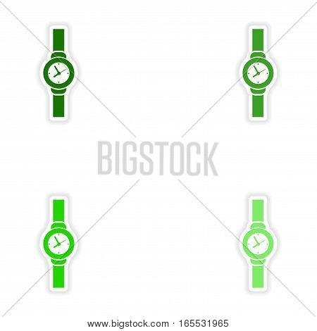 Set of paper stickers on white background watch