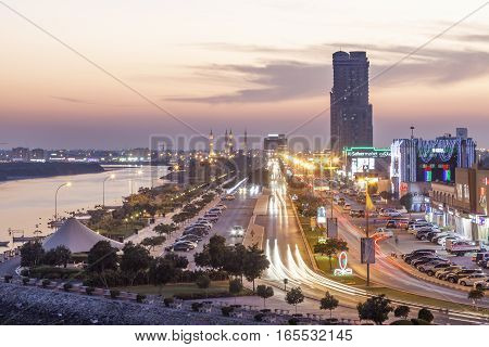 RAS AL KHAIMAH UAE - NOV 30 2016: Ras al Khaimah creek and corniche illuminated at night. United Arab Emirates Middle East