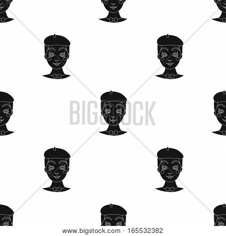 Mime artist icon in black style isolated on white background. Event service pattern vector illustration.