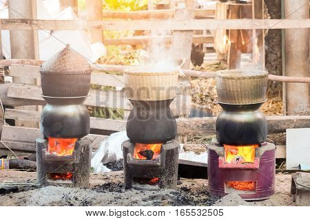 Three Traditional bamboo steamer Put on a pot of boiling water For steamed rice