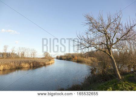 River Linge on winter day in the Netherlands between Leerdam and Geldermalsen