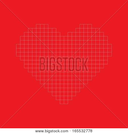 Modern valentine background pixel grid heart in red background