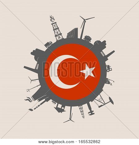 Circle with industry relative silhouettes. Vector illustration. Objects located around the circle. Industrial design background. Turkey flag in the center.