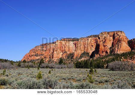 Red Rocks in Zion National Park with blue sky