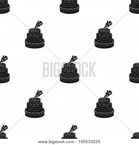 Decorating of birthday cake icon in black style isolated on white background. Event service pattern vector illustration.