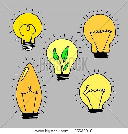 lamp light yellow vector illustration poster black line