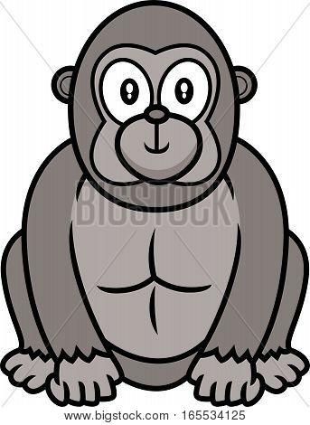 Cute Gorilla Cartoon Isolated on White Background