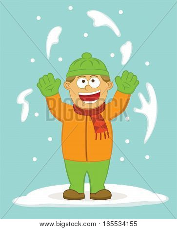 Happy Boy Throwing Snow to the Air Cartoon Illustration