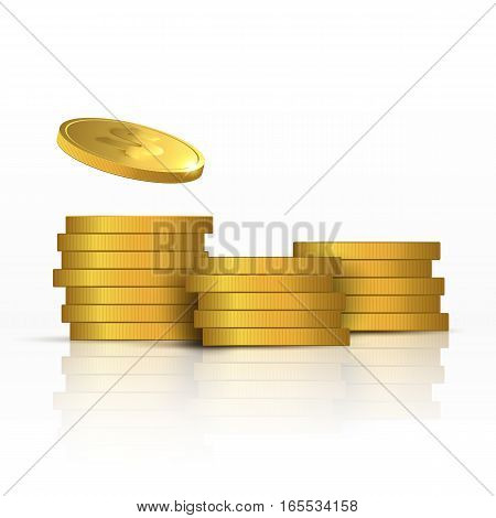 Vector Illustration of golden coins. Money isolated on white background.