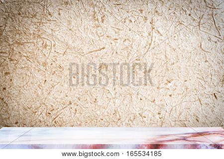 Empty marble table with backdrop Mulberry paper background, Can be used for display your product