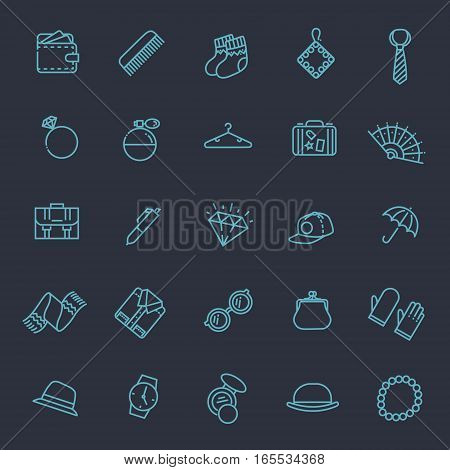 accessories vector outline icons set. Fashion and beauty
