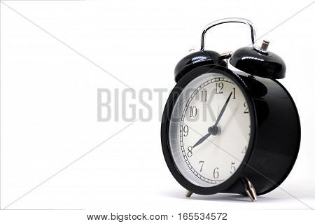 Vintage black clock Eight hours 5 minutes isolated on white background with copy space