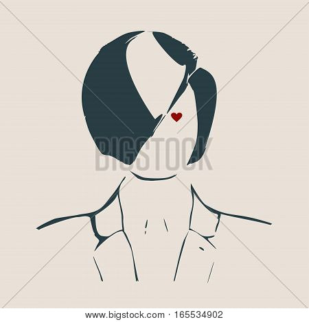 Face front view. Elegant silhouette of a female head. Vector Illustration. Short hair. Monochrome gamma. Business woman with heart icon instead eye