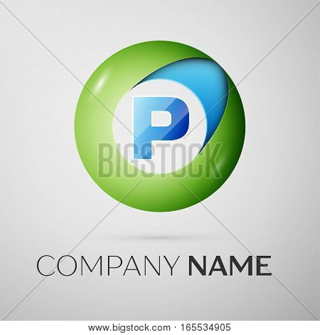 Letter P vector logo symbol in the colorful circle on grey background. Vector template for your design