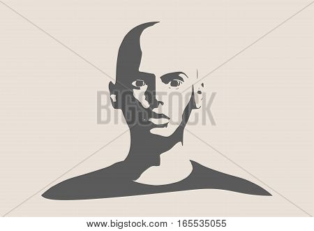 Face front view. Elegant silhouette of a female head. Vector Illustration. Head without hair. Monochrome gamma.