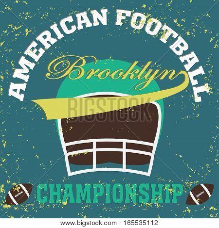 football brooklyn new york t-shirt vintage - vector