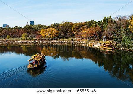 Wooden Travel Boat Sailing Around Osaka Castle