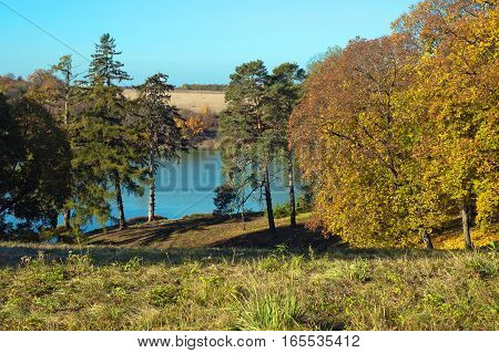 Landscape Park Estate Of Kachanovka Autumn On A Sunny Day