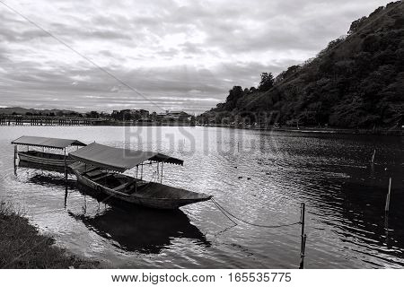 Boat And Togetsukyo Bridge, Arashiyama