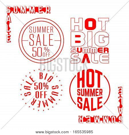 Summer sale stamp. Set of sale red label. Vector illustration.